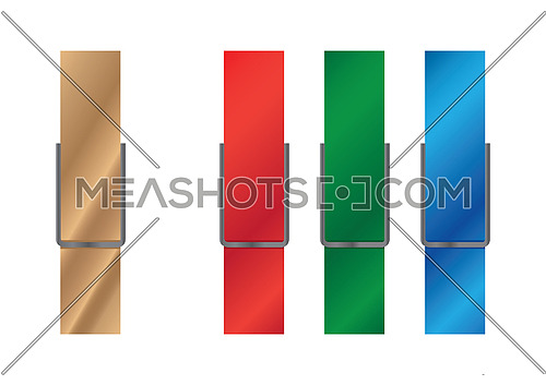 Vector illustration of wooden and vivid multicolor plastic clothespins, red, blue, green, isolated on white background