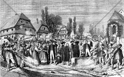 Wedding a village in Alsace, vintage engraved illustration. Magasin Pittoresque 1870.