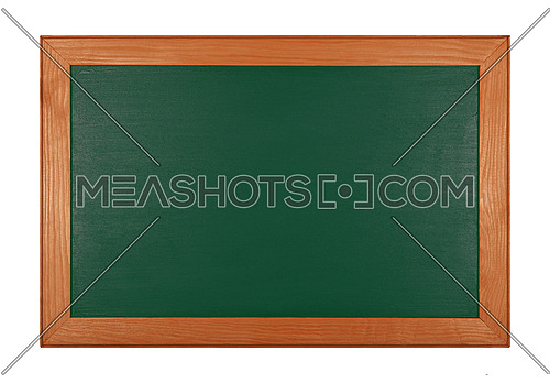 Green school chalkboard blackboard sign in brown wooden frame isolated on white background