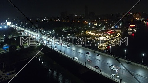 6 October Bridge over the Nile river at Night side motion, shoot on DJI X5S
