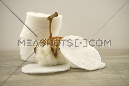 Stack of round embossed cotton pads and natural cotton stem boll. Organic cotton products