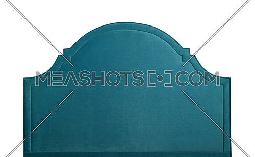 Shaped teal blue soft velvet bed headboard isolated on white background, front view