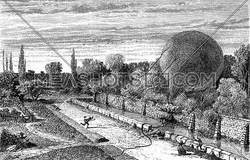 Section of wall shot by the gondola of a balloon, vintage engraved illustration. Magasin Pittoresque 1870.