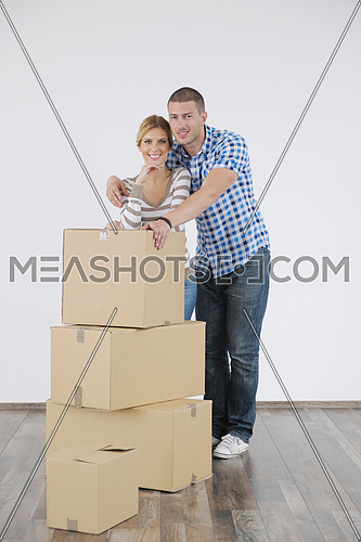 happy Young couple moving in new home