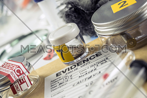 Police record along with some forensic evidence of murder at Laboratory forensic equipment, conceptual image