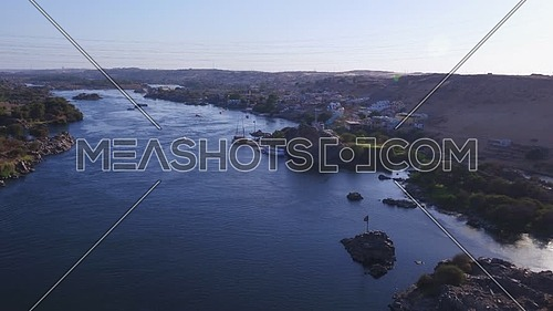 Aerial Shot for the River Nile in Aswan at Day.