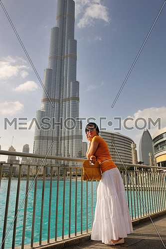 beautiful young woman tourist in dubai and abu dhabi  at vacation and travel trip