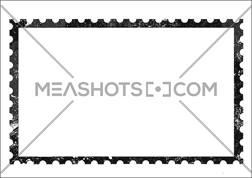 Old retro grunge style blank paper postage stamp frame isolated on white background