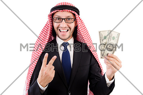 Arab businessman in specs with money isolated on white
