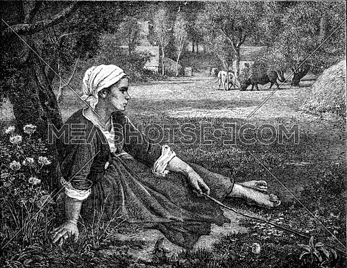Girl keeping cows, by Jules Breton, vintage engraved illustration. Magasin Pittoresque 1873.