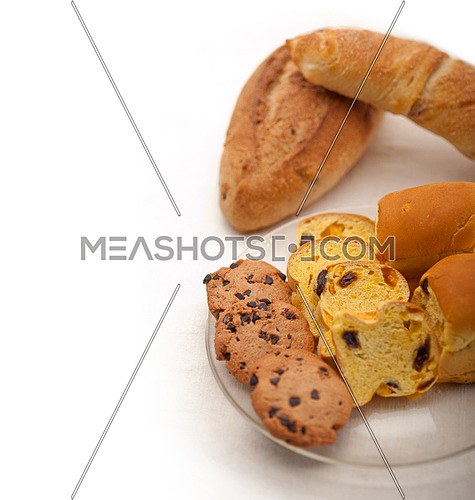 selection of sweet bread and cookies for breakfast