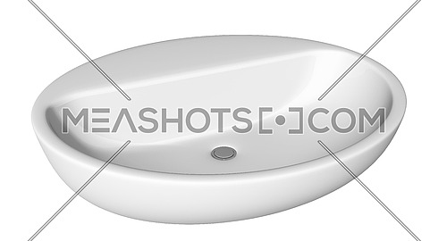 Egg-shapped and shallow washbasin or sink, isolated against a white background.