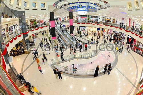 crowd shopper people in Interior of a modern shopping mall center