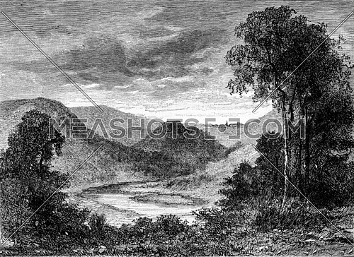 Rochehaut, vintage engraved illustration. Magasin Pittoresque 1873.