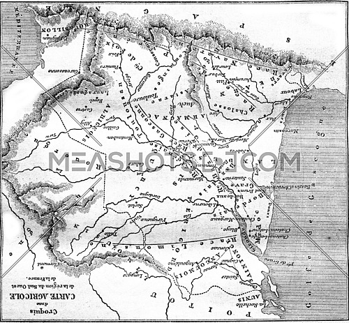 Sketch of an agricultural map of the South West region of France, vintage engraved illustration. Magasin Pittoresque 1861.