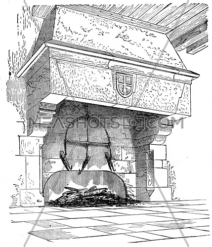 Kitchen chimney Abbey Blanche Mortain, vintage engraved illustration. Industrial encyclopedia E.-O. Lami - 1875.