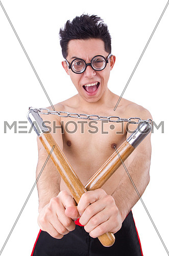 Funny guy with nunchucks on white