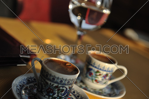 fresh and aromatic turkish coffee cup at restaurant in istanbul