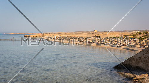 Egyptian parasols on the beach of Red Sea