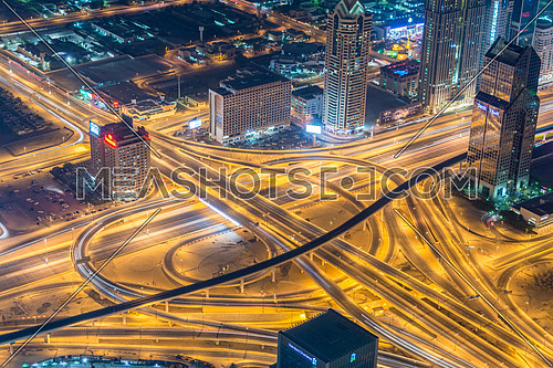 Dubai road junction during night hours