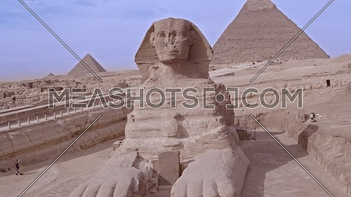 Reveal Shot Drone for The Sphinx and Menkaure Pyramid and Khafre Pyramid in Giza at day