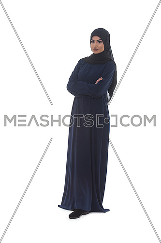 Young Muslim Woman In Head Scarf With Modern Clothes - Isolated On White