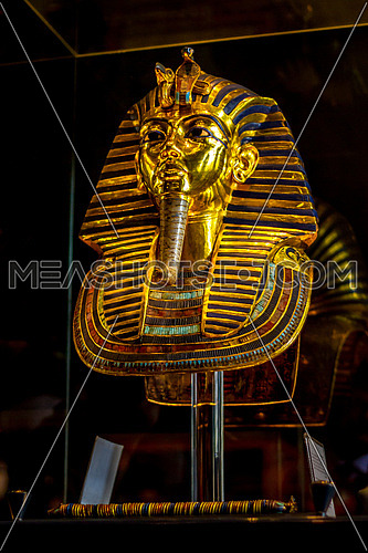 King Tut Golden Mask display in the Egyptian museum