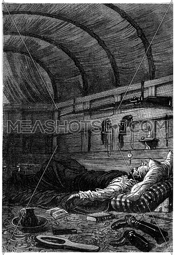 He soon fell asleep, vintage engraved illustration. Jules Verne 3 Russian and 3 English, 1872.