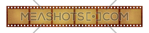 Close up six frames of old vintage grunge retro styled classical 35 mm film strip isolated on white background