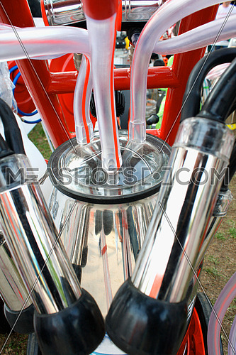 Pipes on mechanized milking equipment