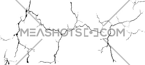 Vector group of black branch grunge cracks isolated on white background