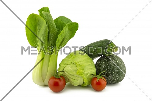 Chinese cabbage and white cabbage green round courgette, zucchini and cherry tomato isolated on white background