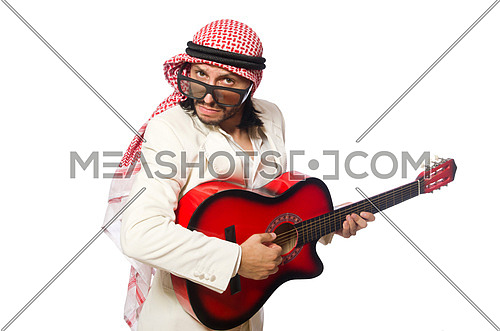Arab man with guitar on white