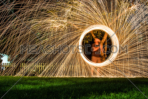 light painting in the garden
