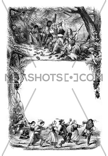 Tire spring new songs, vintage engraved illustration. Magasin Pittoresque 1846.