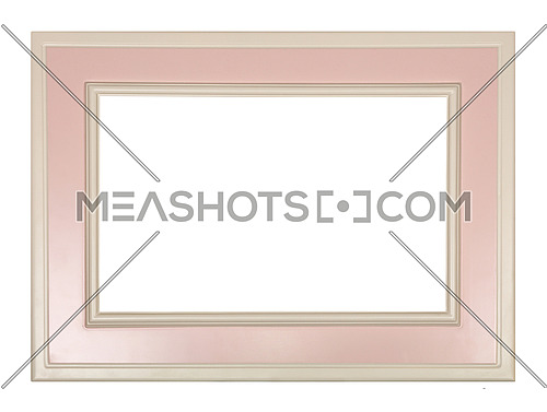 Modern pastel color pink and white painted rectangular horizontal frame for picture or photo, isolated on white background, close up