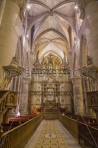 CUENCA, SPAIN - August 24, 2016: Interior of the cathedral of Cuenca, Grill of the Choir, Renaissance grill that closes the choir is of the middle of the XVIth century, locksmith of Cuenca Hernando de Arenas acts of the maker. Cuenca, Patrimony of the humanity, Spain