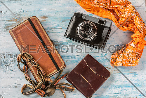 Travel concept,with old camera,wallet and book