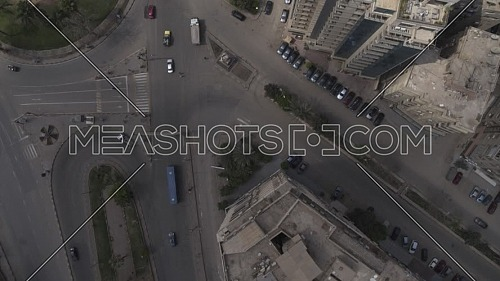 Aerial shot flying over Cairo Downtown empty streets during the corona pandemic lockdown by day 10 April