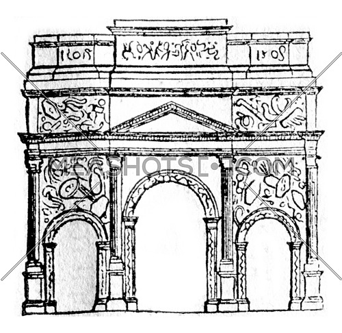 Triumphal Arch of Orange, vintage engraved illustration. Magasin Pittoresque 1836.