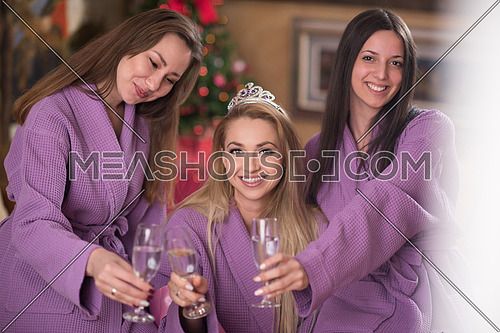 group of female friends in spa have fun, celebrate bachelorette party