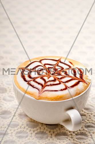 classic Italian cappuccino cup with topping decoration pattern