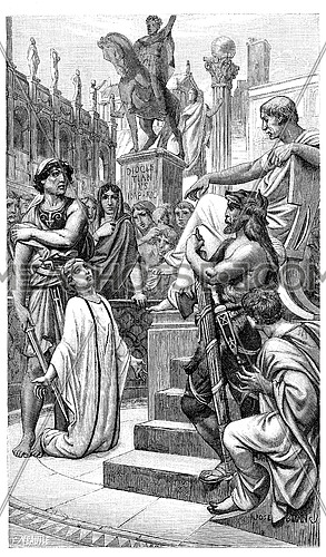 Christian martyrdom in the early centuries of the church, vintage engraved illustration.