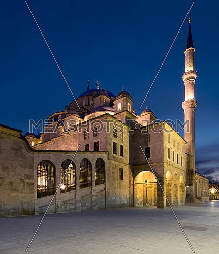 Night shot of Fatih Mosque, an an Ottoman imperial mosque located on Fatih district of Istanbul, Turkey