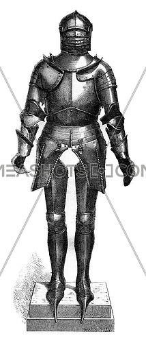 Museum of artillery, the hotel des Invalides, Armor of the fifteenth century, vintage engraved illustration. Magasin Pittoresque 1880.
