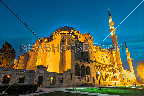 Night shot of Suleymaniye Mosque, an an Ottoman imperial mosque located on the Third Hill of Istanbul, Turkey, and the second largest mosque in the city. built in 1557, designed by architect Sinan