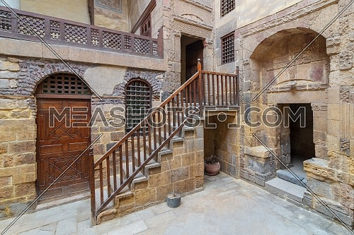 Courtyard of ottoman historic Beit El Set Waseela building (Waseela Hanem House), located near to Al-Azhar Mosque in Darb Al-Ahmar district, Old Cairo, Egypt