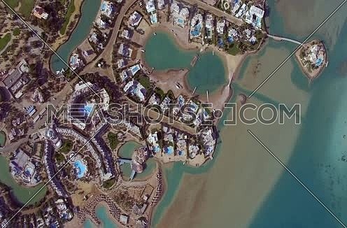Drone shot flying above Al Gouna at Day