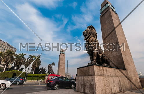 Fixed Low Angel for Qasr Al Nile Bridge's Lions at Day