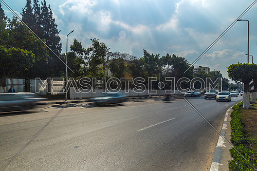 Long Shot for traffic at Salah Salim Street at Daytime
